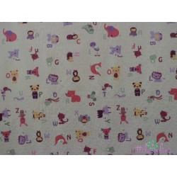 Tela de  algodón  animales fondo rosa