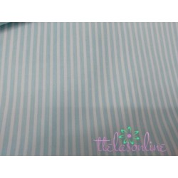 Tela de  algodón con rayitas en verde agua