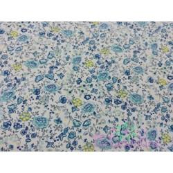 Tela de  algodón miniflores en azul y amarillo