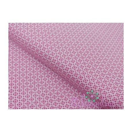 Tela de  algodón dibujo geométrico en rosa