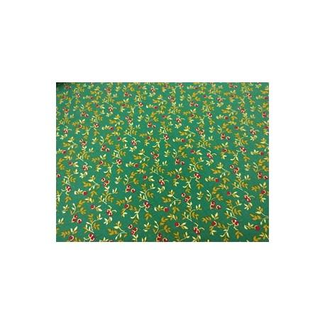 Tela de  algodón miniflores verde Navidad