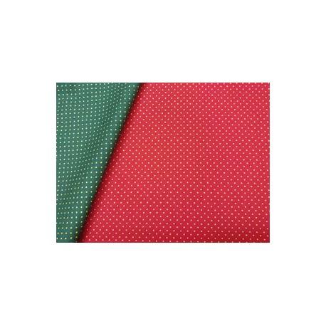Tela de  algodón topitos fondo rojo Navidad