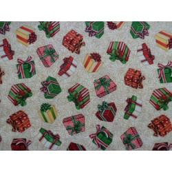 Tela de  algodón estampado navideño de cajas de regalo
