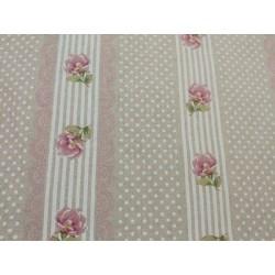 Tela de  algodón flores y rayas en rosa