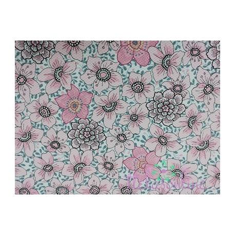 Pique nido estampado en rosa suave