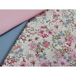 Villela Flores rosas, fondo crema