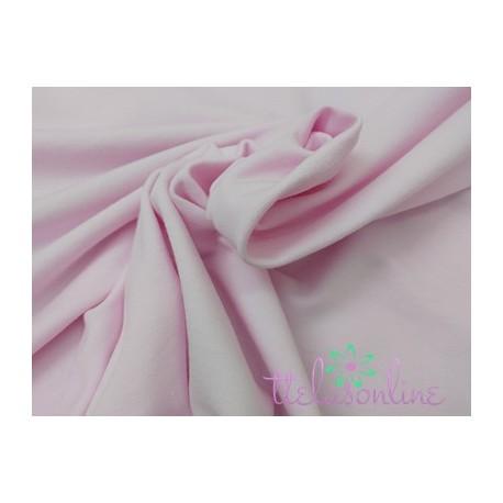 Tela de punto de sudadera rosa bebé